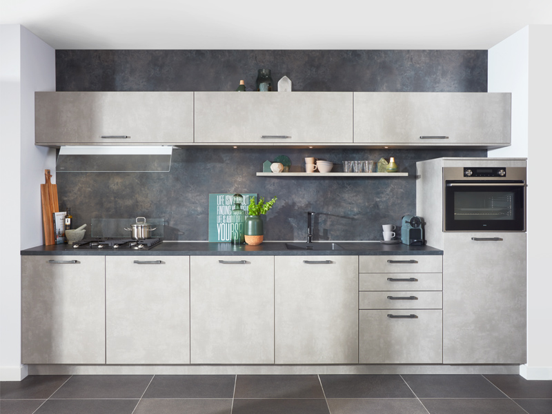 beton grijze keuken