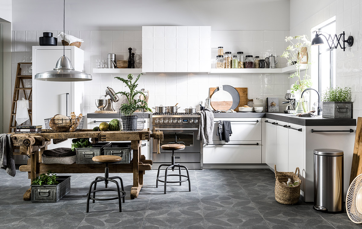 Industrieel Keuken Tegels : Keuken vloertegels trends van het moment
